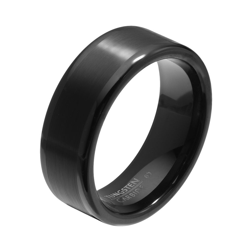 AXL by Triton Black Ion-Plated Tungsten Carbide Wedding Band - Men