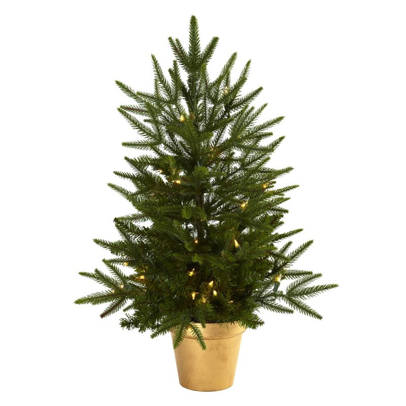 nearly natural 2 1/2-ft. Potted Pre-Lit Artificial Christmas Tree - Indoor (Pink)
