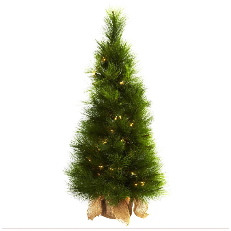 nearly natural 3-ft. Potted Pre-Lit Artificial Christmas Tree - Indoor (Green)
