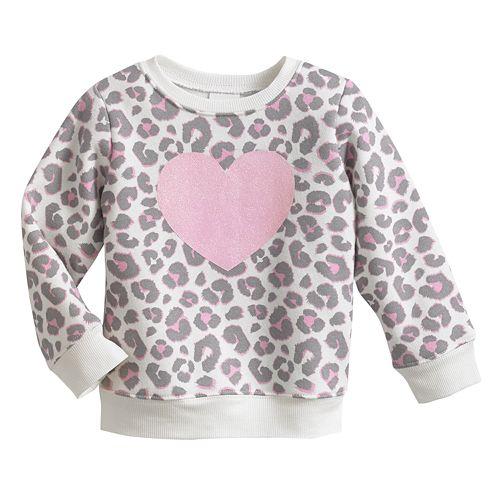 Jumping Beans® Cheetah Heart Fleece Sweatshirt - Baby