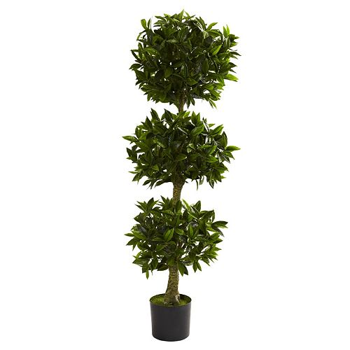 nearly natural 5-ft. Potted Triple Bay Leaf Topiary - Indoor and Outdoor