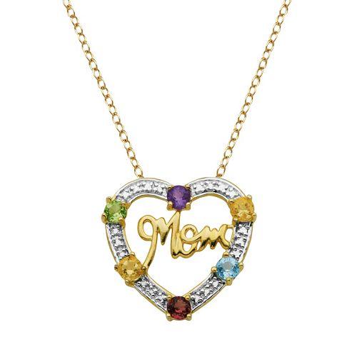 18k Gold Over Silver Gemstone & Diamond Accent Mom Heart Pendant