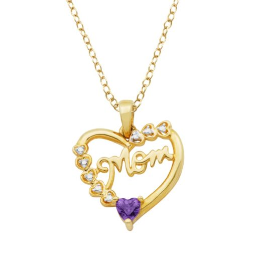 18k Gold Over Silver African Amethyst and Diamond Accent Mom Heart Pendant