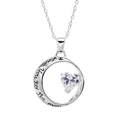 Love You To The Moon & Back Sterling Silver Cubic Zirconia Mobius Pendant