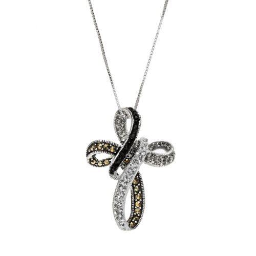 Sterling Silver Marcasite and Crystal Ribbon Cross Pendant