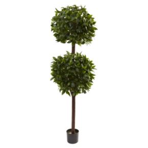 nearly natural 6-ft. Potted Sweet Bay Double Ball Topiary - Indoor and Outdoor