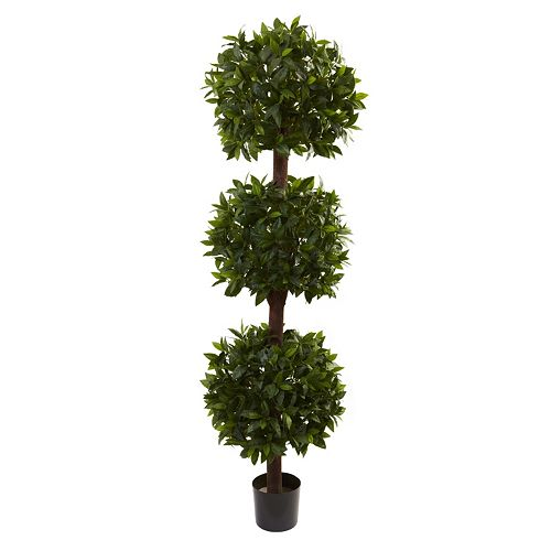 nearly natural 6 1/2-ft. Potted Sweet Bay Triple Ball Topiary - Indoor & Outdoor
