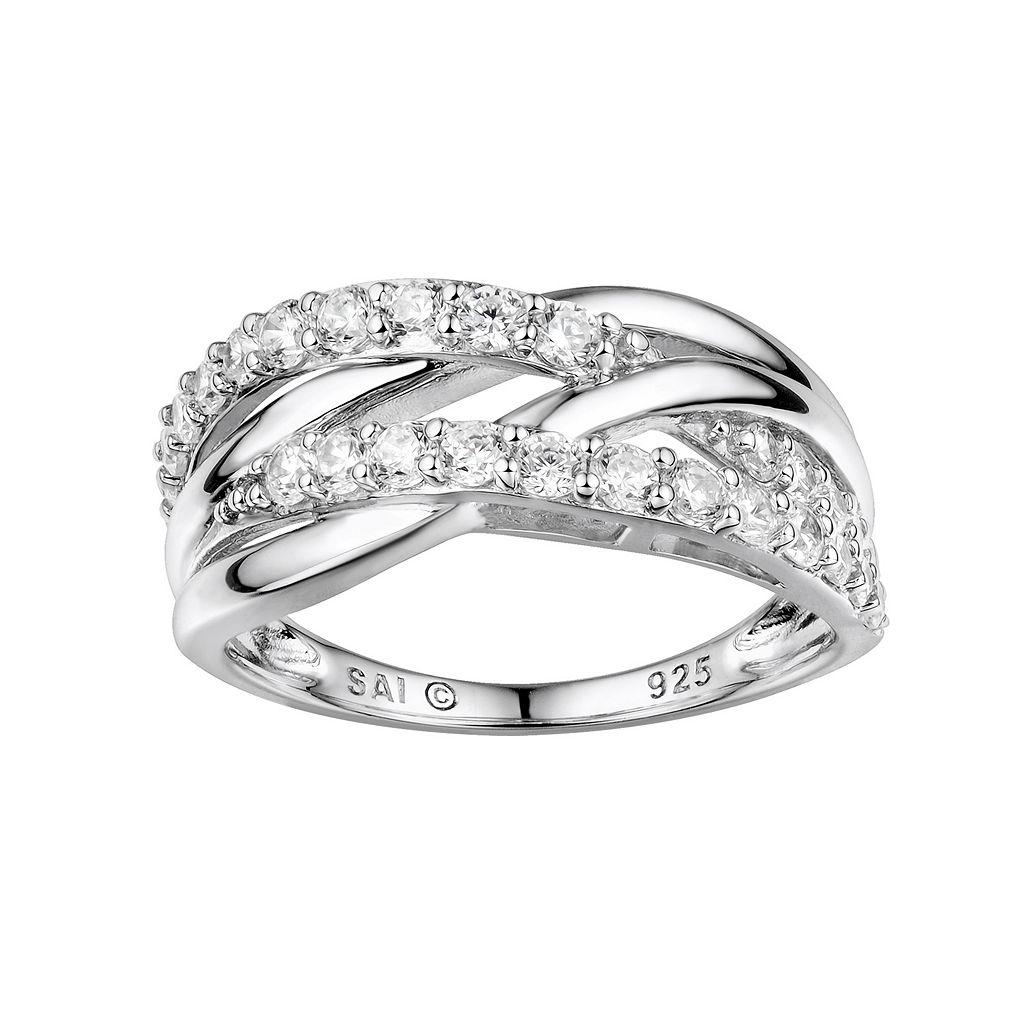 DiamonLuxe Sterling Silver Cubic Zirconia Crisscross Ring