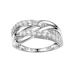 DiamonLuxe Sterling Silver Cubic Zirconia Crisscross Ring