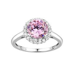 DiamonLuxe Sterling Silver Pink & White Cubic Zirconia Halo Ring