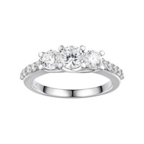 DiamonLuxe Sterling Silver Cubic Zirconia 3-Stone Ring