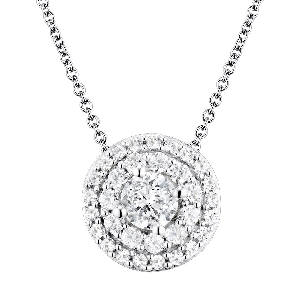 DiamonLuxe Sterling Silver Cubic Zirconia Halo Pendant