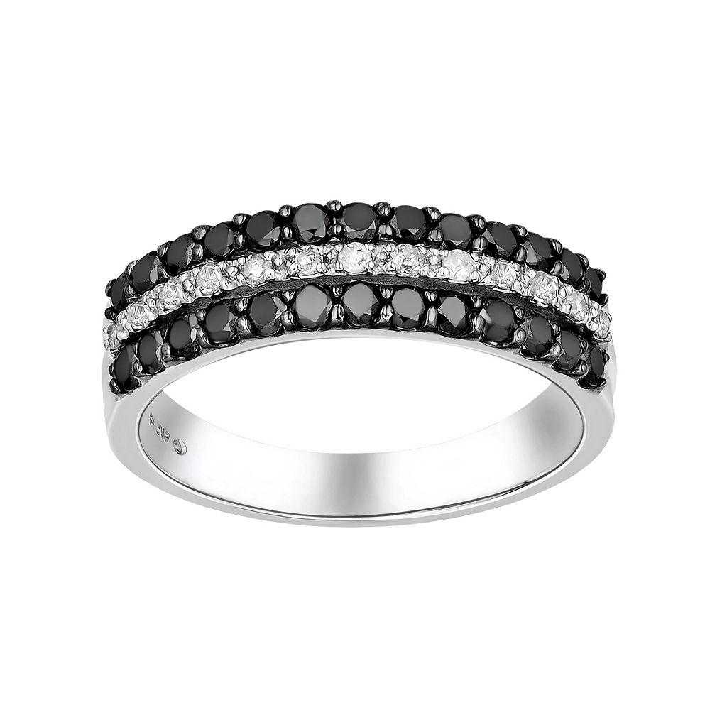 Sterling Silver 3/4-ct. T.W. Black & White Diamond Striped Ring