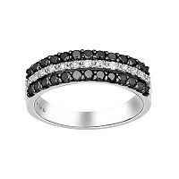 Sterling Silver 3/4-ct. T.W. Black & White Diamond Striped Ring