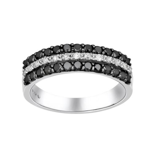 Sterling Silver 3/4-ct. T.W. Black and White Diamond Striped Ring