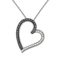 Sterling Silver 3/8 ctT.W. Black & White Diamond Tilted Heart Pendant