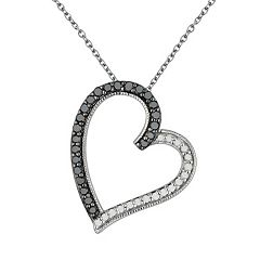 Sterling Silver 3/8-ct. T.W. Black & White Diamond Tilted Heart Pendant