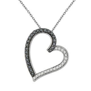 Sterling Silver 3/8-ct. T.W. Black and White Diamond Tilted Heart Pendant