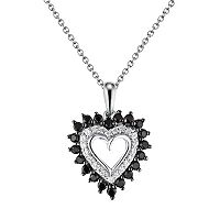 Sterling Silver 1/2 ctT.W. Black & White Diamond Heart Pendant