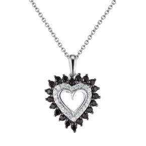 Sterling Silver 1/2-ct. T.W. Black and White Diamond Heart Pendant