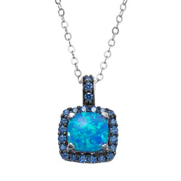 Sterling Silver Simulated Blue Opal Square Halo Pendant - Made with Swarovski Zirconia