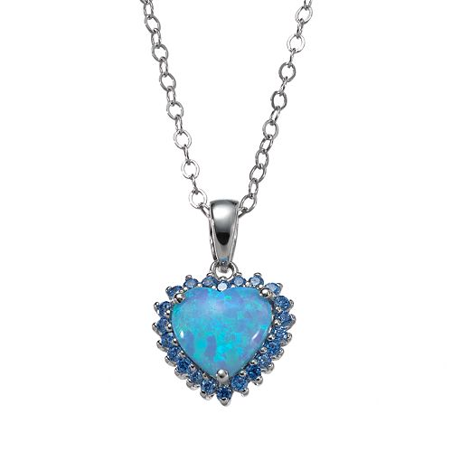 Sterling Silver Simulated Blue Opal Heart Pendant - Made with Swarovski Zirconia