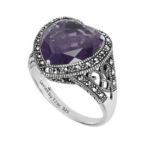 Lavish by TJM Sterling Silver Amethyst Heart Ring - Made with Swarovski Marcasite