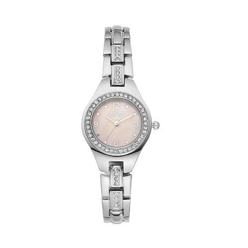 Folio Women's Crystal Stainless Steel Watch