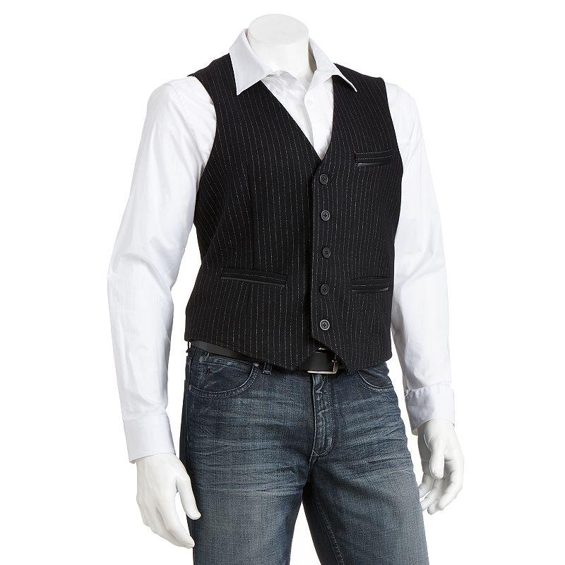 Marc Anthony Slim-Fit Striped Welt-Pocket Vest - Men