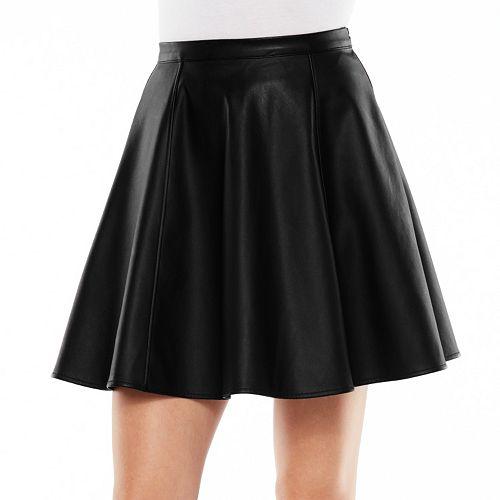 LC Lauren Conrad Faux-Leather Circle Skirt - Women's