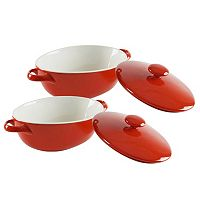 10 Strawberry Street Sienna Red 4 pc Covered Oval Baking Dish Set