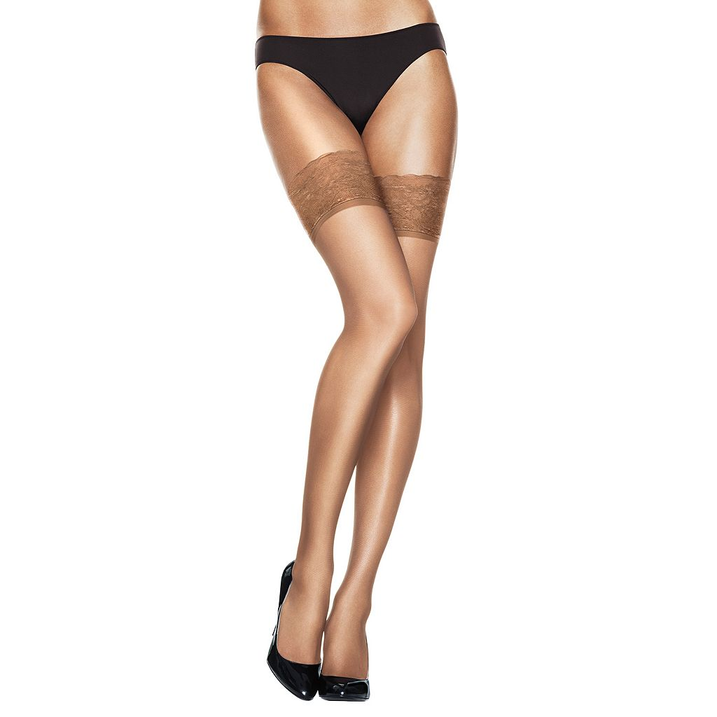 Hanes Silk Reflections Lace-Top Thigh-High Pantyhose