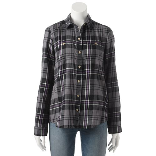 SO® Flannel Button-Front Top - Juniors