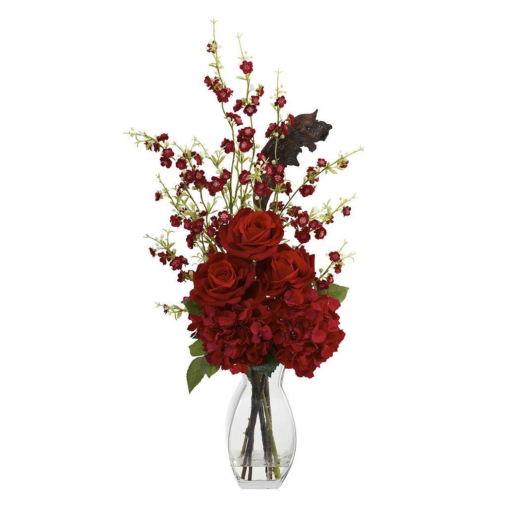 nearly natural Hydrangea, Cherry Blossom & Rose Arrangement