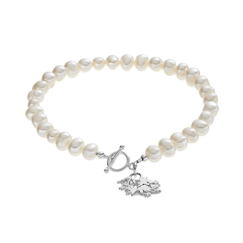 Dayna U South Carolina Gamecocks Sterling Silver Freshwater Cultured Pearl Toggle Bracelet