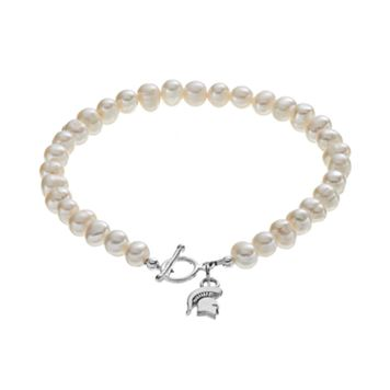 Dayna U Michigan State Spartans Sterling Silver Freshwater Cultured Pearl Toggle Bracelet