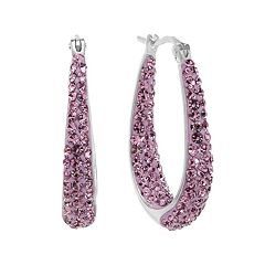 Silver-Plated Crystal Inside-Out Pear Hoop Earrings