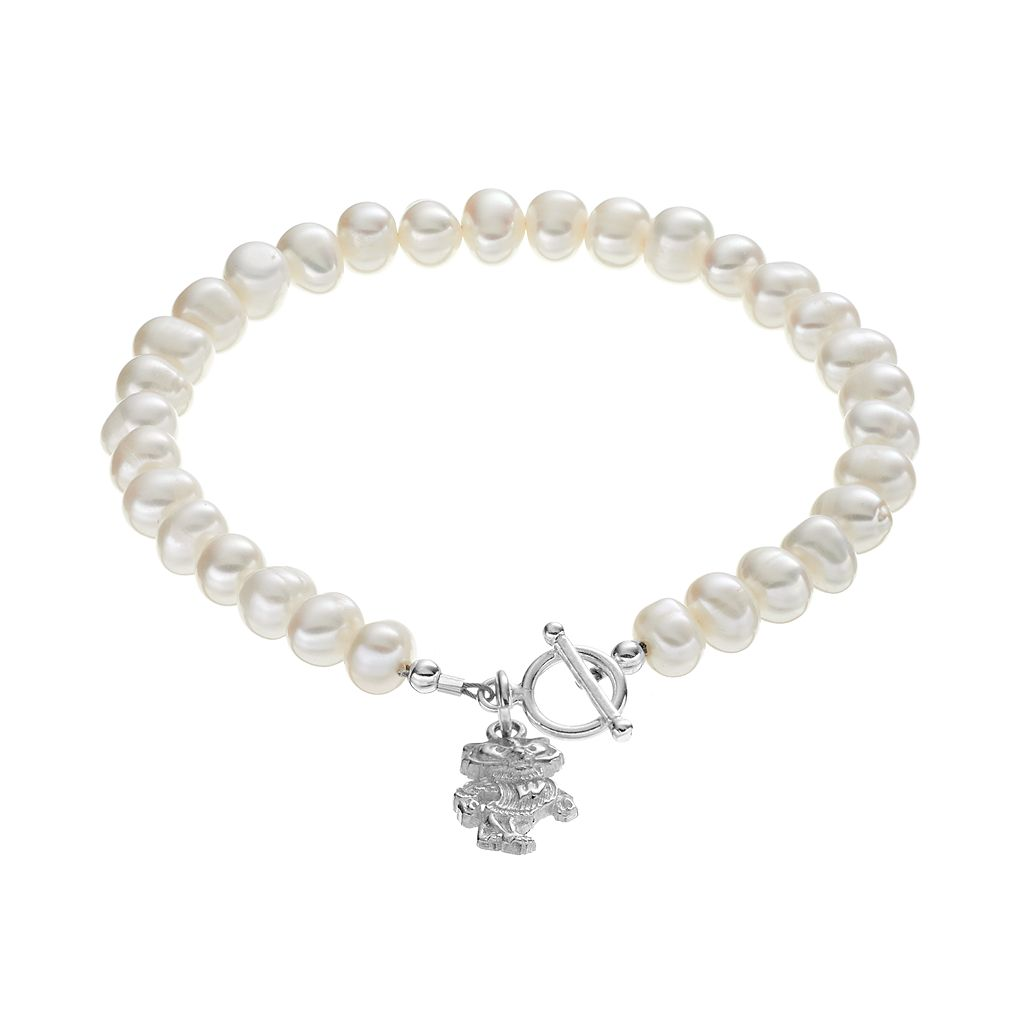 Dayna U Wisconsin Badgers Sterling Silver Freshwater Cultured Pearl Toggle Bracelet