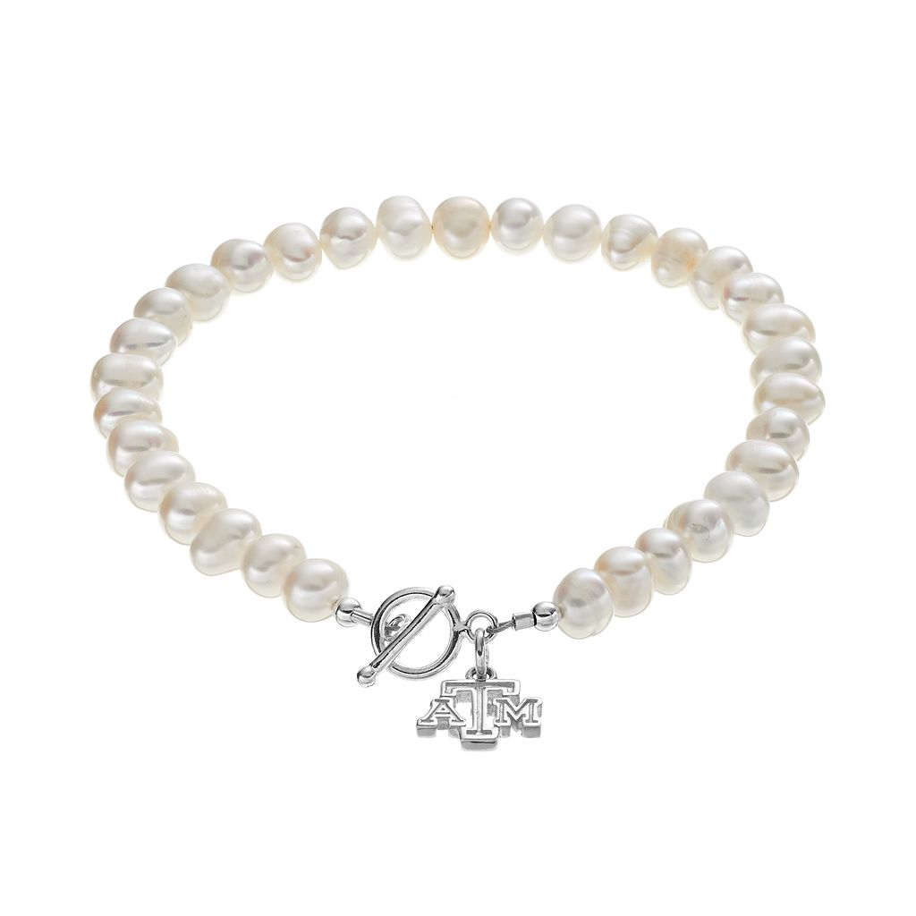 Dayna U Texas A&M Aggies Sterling Silver Freshwater Cultured Pearl Toggle Bracelet