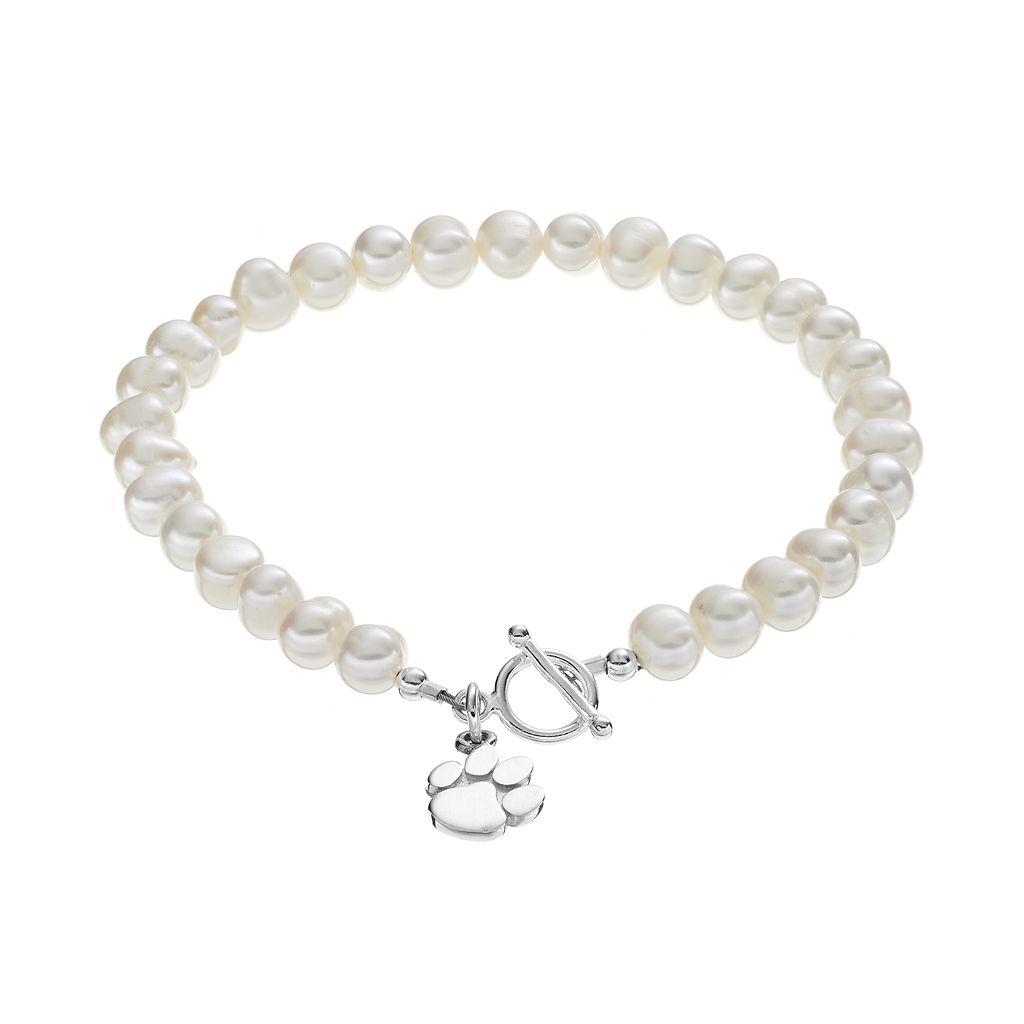 Dayna U Clemson Tigers Sterling Silver Freshwater Cultured Pearl Toggle Bracelet