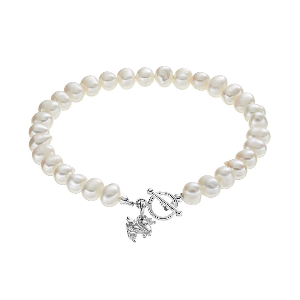 Dayna U Georgia Tech Yellow Jackets Sterling Silver Freshwater Cultured Pearl Toggle Bracelet