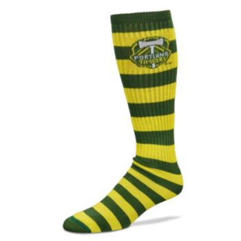 For Bare Feet Portland Timbers Team Color Rugby-Striped Crew Socks Adult