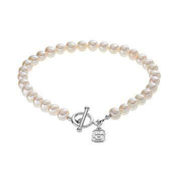 Dayna U North Carolina State Wolfpack Sterling Silver Freshwater Cultured Pearl Toggle Bracelet