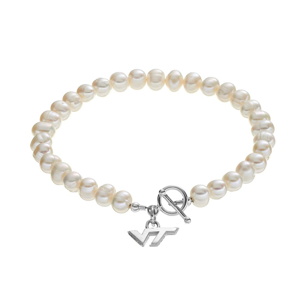Dayna U Virginia Tech Hokies Sterling Silver Freshwater Cultured Pearl Toggle Bracelet
