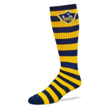 For Bare Feet Los Angeles Galaxy Team Color Rugby-Striped Crew Socks Adult