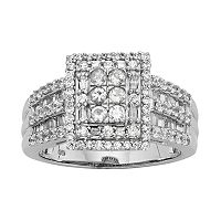 10k White Gold 1 ctT. W. Diamond Square Halo Ring