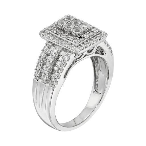 10k White Gold 1 ct. T. W. Diamond Square Halo Ring