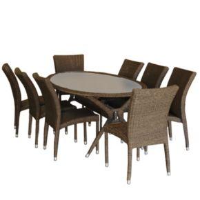 Atlantic Genova Synthetic Wicker Oval Dining 9-piece Set