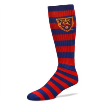 For Bare Feet Real Salt Lake Team Color Rugby-Striped Crew Socks Adult