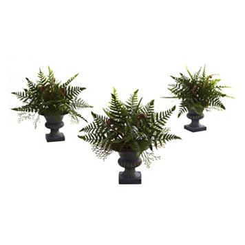 nearly natural 3-pc. Mixed Fern Bush Arrangement Set